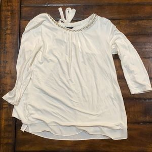 WHBM layered embellished color 3/4 sleeve top